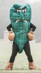 The Fighting Okra mascot