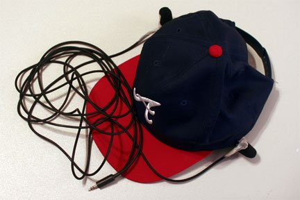 Binaural mics clipped to hat for lifelike recordings